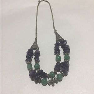 Jewelry - Sterling silver, jade and amethyst necklace